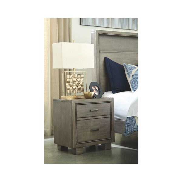 Arnett Two Drawer Night Stand - Casual Style - Gray