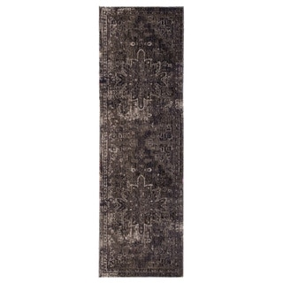 """The Curated Nomad Clarion Blue/ Black Medallion Indoor/ Outdoor Runner Rug - 2'8"""" x 10' Runner"""