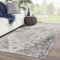 The Gray Barn Whitfield Grey and Ivory Indoor/ Outdoor Medallion Runner Rug