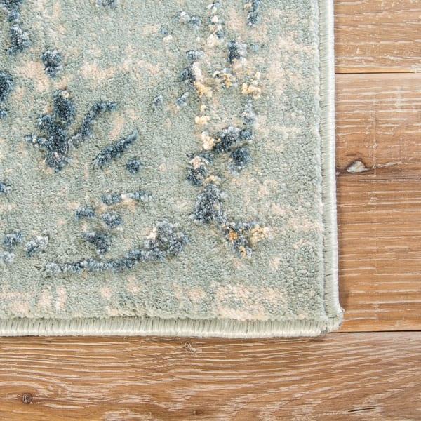 Shop Olwyn Abstract Blue Teal Runner Rug On Sale Free