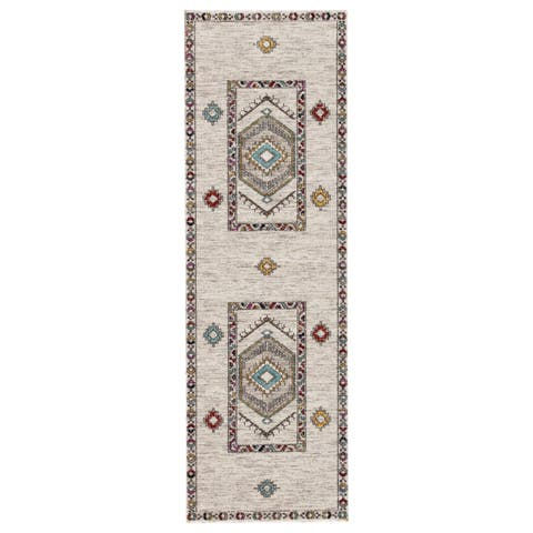 """The Curated Nomad Don Chee Tribal Medallion Indoor/ Outdoor Runner Rug - 2'8 x 10' - 2'8"""" x 10' Runner"""