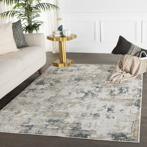 Benson Abstract White/ Gray Runner Rug