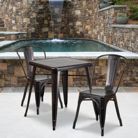 "23.75"" Square Black-Gold Metal Indoor-Outdoor Table Set with 2 Stack Chairs"