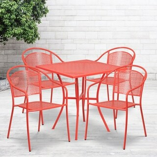 28SQ Patio Table Set-4 Chairs