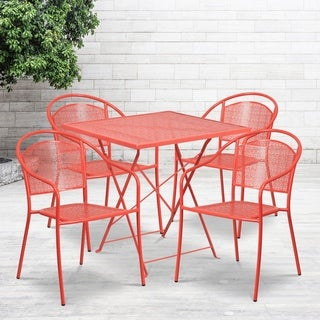 """28"""" Square Coral Indoor-Outdoor Steel Folding Patio Table Set with 4 Chairs"""