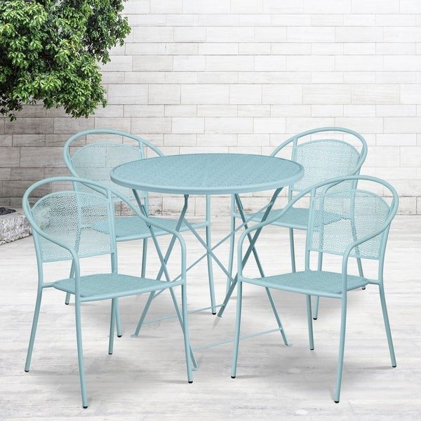 """30"""" Round Sky Blue Indoor-Outdoor Steel Folding Patio Table Set with 4 Chairs"""