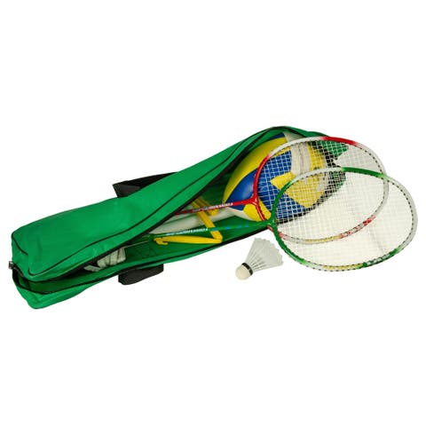 """Volleyball and Badminton Combo Set - Green/Yellow - 231""""Lx1""""Wx67""""H"""