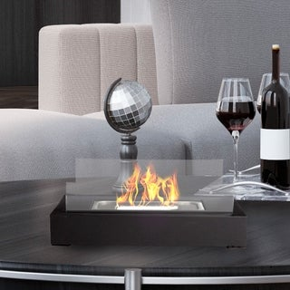 Northwest Bio Ethanol Ventless Rectangle Real Flame Smokeless Clean Burning Portable Heat 360 View Glass Tabletop Fireplace