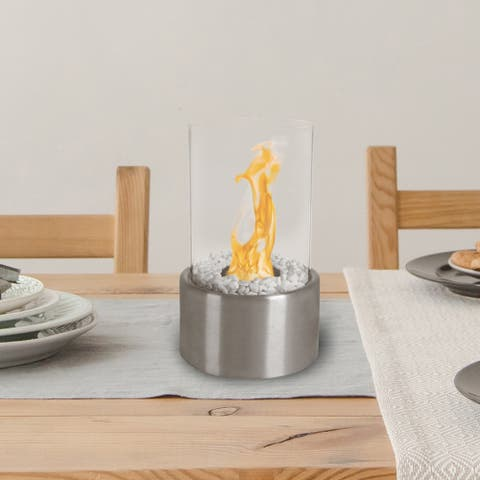 Northwest Real Smokeless Clean-burning Bio-ethanol Ventless Portable Tabletop 360-degree View Cylinder Fireplace