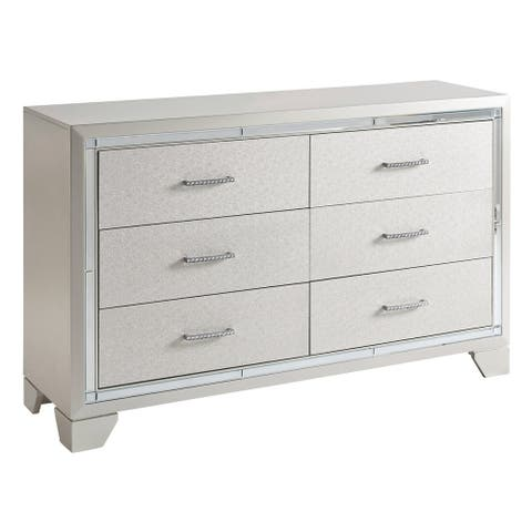 Silver Orchid Bruce Silver Finish 6-Drawer Dresser