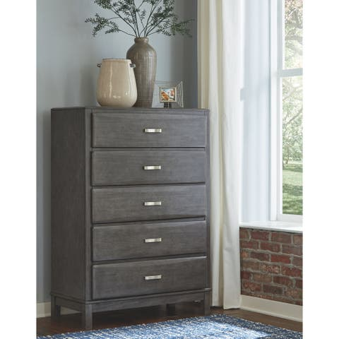 Caitbrook Five Drawer Chest - Contemporary Style - Gray