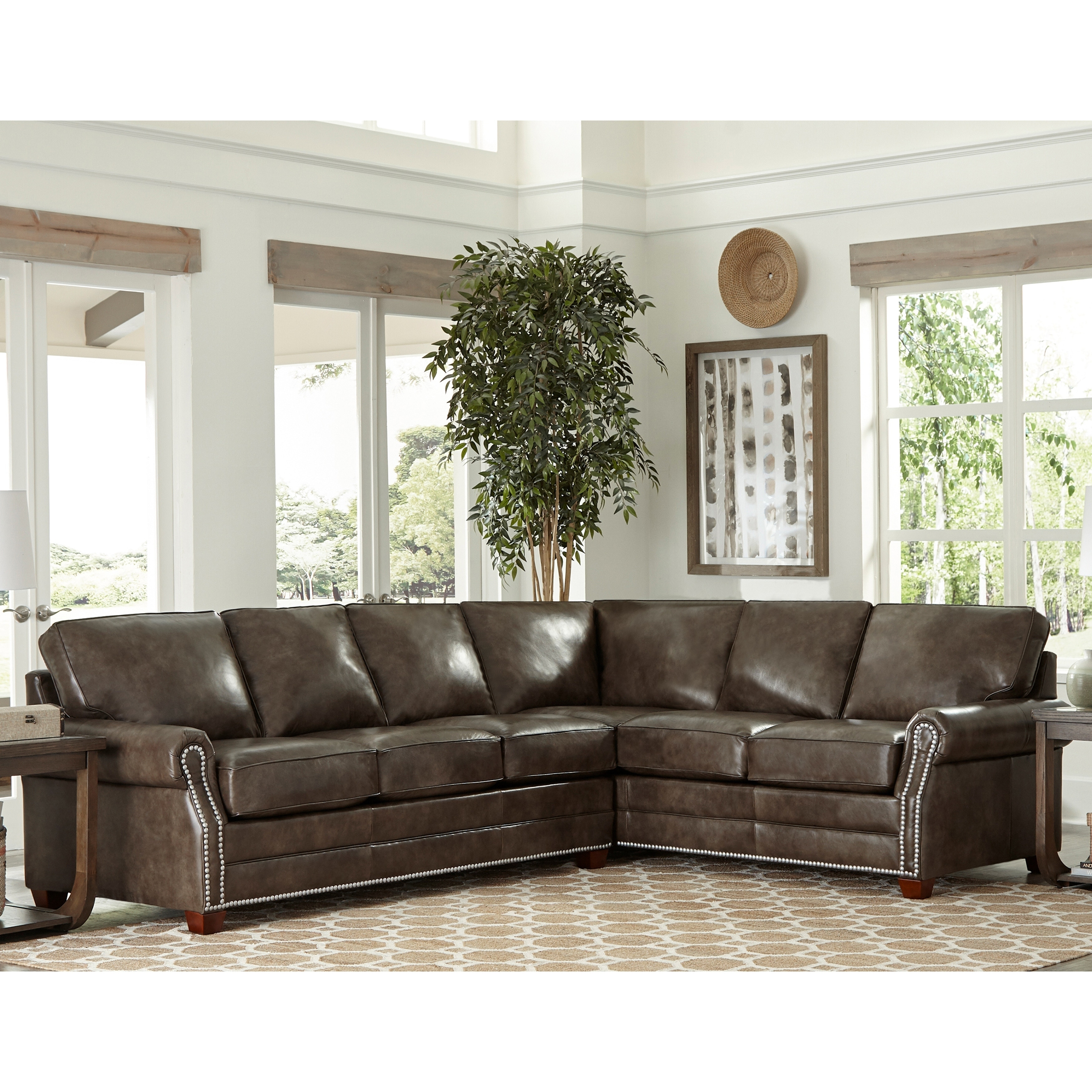 Davis Top Grain Leather Sectional Sofa