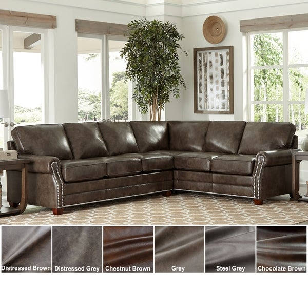 Shop Made in USA Davis Top Grain Leather Sectional Sofa ...