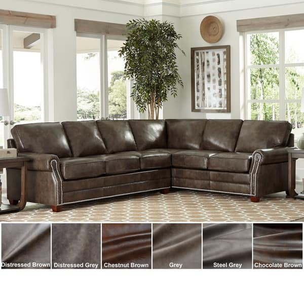 Shop Made in USA Davis Top Grain Leather Sectional Sofa Bed ...