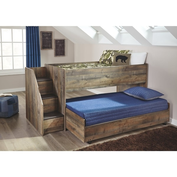 Shop Signature Design By Ashley Trinell Brown Wood Twin Loft Bed Free Shipping Today
