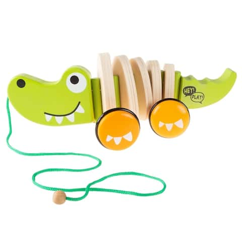 Wooden Pull Toy- Rolling Walk Along Alligator with String- Preschool, Babies and Toddlers by Hey! Play! - Green, Orange