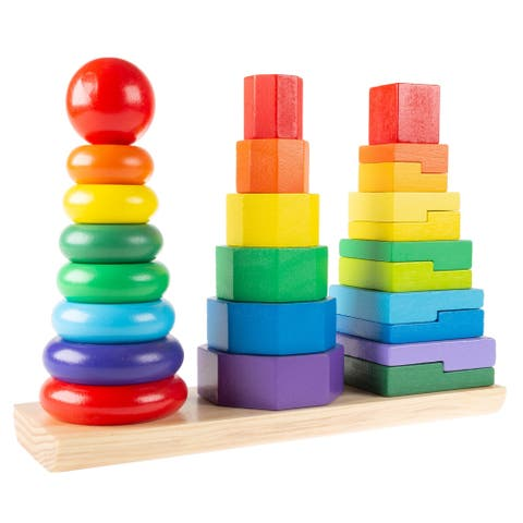 Rainbow Stacking Shapes- Wooden Montessori Toy for Babies, Toddlers to Learn Colors, Shapes and Patterns by Hey! Play! - Multi