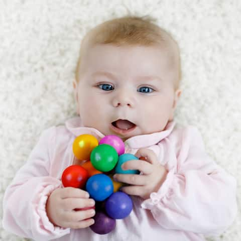 Hey! Play! Multicolored Wooden Grasping Toy/Teething Ring with Beads for Babies' Sensory, Developmental and Stimulation Play