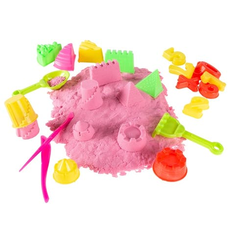 Hey! Play! Non-Toxic 2-pound Pink Sculpting Sand Fun Creative Sensory Kinetic Play Activity Set with 35 Toys and Tools