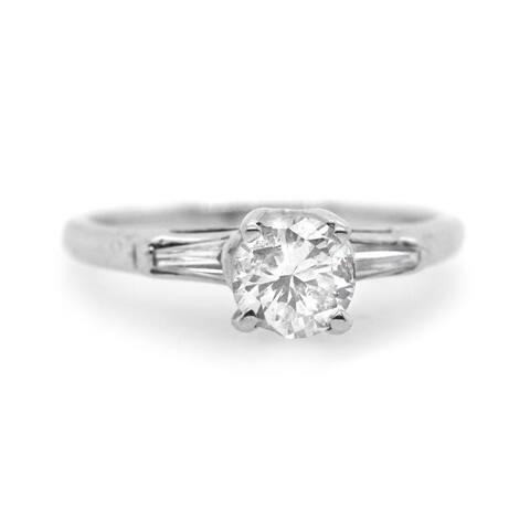 Platinum Dimaond Vintage Solitaire Ring (J-K,I1-I2)