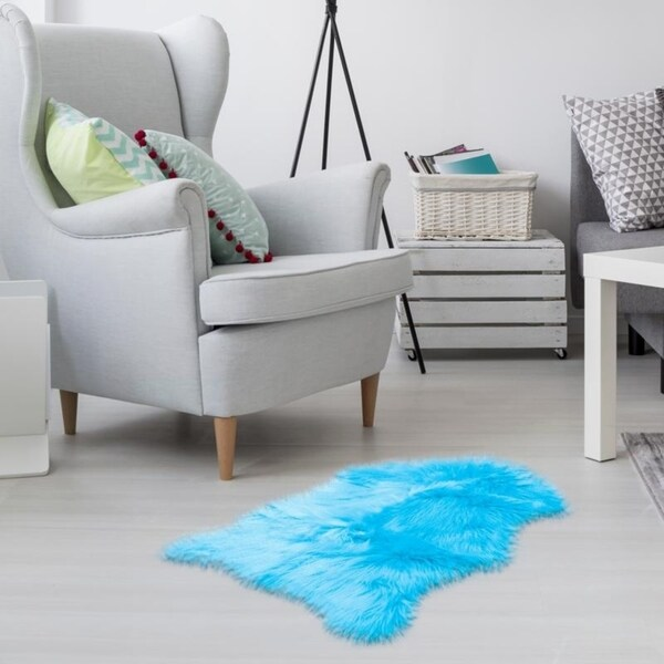 Light Blue Faux Sheepskin Australian Style Rug - Couch Stool Cover - Big