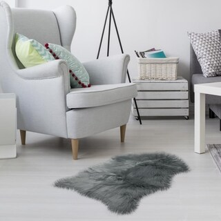 Gray Faux Sheepskin Australian Style Rug - Couch Stool Cover - Big