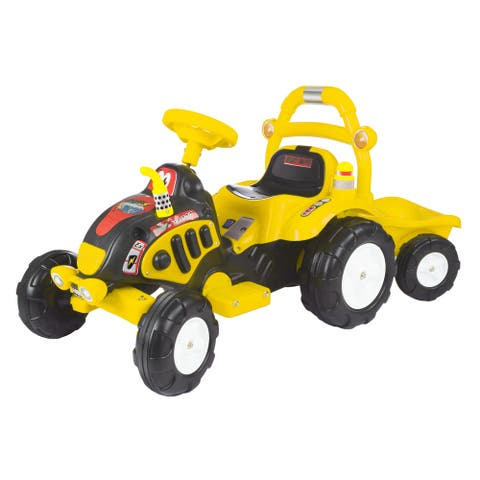 Ride On Tractor and Trailer- Battery Powered, for Boys and Girls, 3 - 5 Year Olds by Lil' Rider (Yellow) - Girls