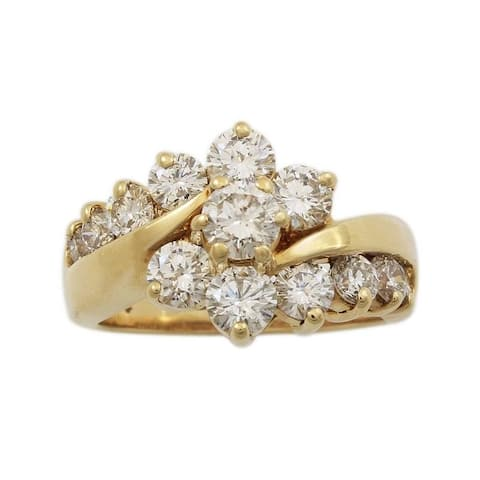 14K Yellow Gold 2CT Diamond Cluster Vintage Ring (I-J,SI1-SI2)