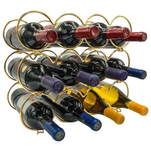 Metal Detachable Round Wine Rack - 3 Tier, Gold
