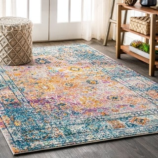 "JONATHAN Y Bohemian FLAIR Boho Vintage Faded Cream/Navy 8 ft. x 10 ft. Area Rug - 7'9"" x 10'"