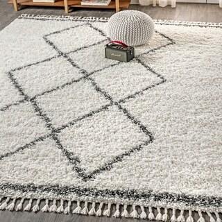 "JONATHAN  Y Mercer Shag Plush Tassel Moroccan Tribal Geometric Trellis Cream/Grey 8 ft. x 10 ft.  Area Rug - 7'9"" x 10'"
