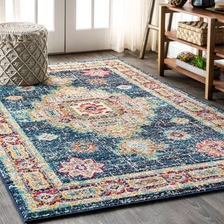 "JONATHAN  Y Bohemian FLAIR Boho Vintage Medallion Navy/Red 5 ft. x 8 ft. Area Rug - 5'3"" x 7'7"""