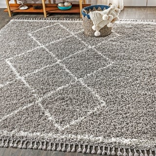 "JONATHAN  Y Mercer Shag Plush Tassel Moroccan Tribal Geometric Trellis Grey/Cream 8 ft. x 10 ft.  Area Rug - 7'9"" x 10'"