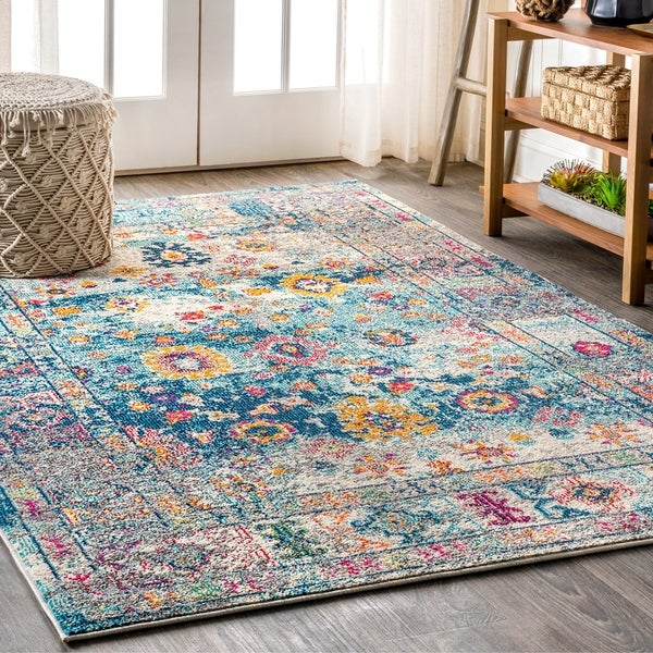 "JONATHAN Y Bohemian FLAIR Boho Vintage Faded Navy/Cream 8 ft. x 10 ft. Area Rug - 7'9"" x 10'"