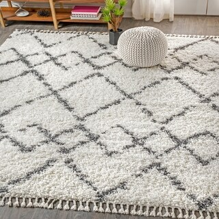 JONATHAN  Y Mercer Shag Plush Tassel Moroccan Tribal Geometric Trellis Cream/Grey 4 ft. x 6 ft.  Area Rug - 4' x 6'