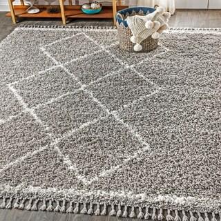 "JONATHAN  Y Mercer Shag Plush Tassel Moroccan Tribal Geometric Trellis Grey/Cream 3 ft. x 5 ft. Area Rug - 3'1"" x 5'"
