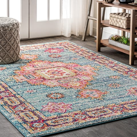 Porch & Den Peaks View Blue/ Red Bohemian Medallion Area Rug - 7'9 x 10'