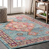 "JONATHAN  Y Bohemian FLAIR Boho Vintage Medallion Blue/Red 8 ft. x 10 ft.  Area Rug - 7'9"" x 10'"