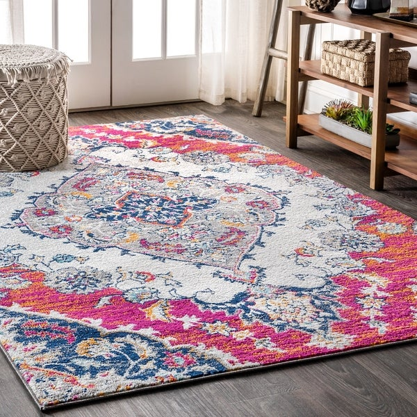"JONATHAN Y Bohemian FLAIR Boho Vintage Medallion Blue/Multi 5 ft. x 8 ft. Area Rug - 5'3"" x 7'7"""