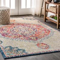"JONATHAN  Y Bohemian FLAIR Boho Vintage Medallion Cream/Orange 8 ft. x 10 ft.  Area Rug - 7'9"" x 10'"