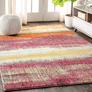 """JONATHAN  Y Contemporary POP Modern Abstract Vintage Cream/Pink 8 ft. x 10 ft.  Area Rug - 7'9"""" x 10'"""