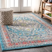 The Curated Nomad Bartlett Boho Vintage Medallion Blue/Yellow Area Rug - 5'3 x 7'7