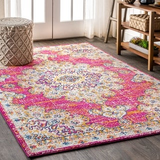 "JONATHAN  Y Bohemian FLAIR Boho Vintage Medallion Pink/Cream 8 ft. x 10 ft.  Area Rug - 7'9"" x 10'"