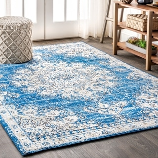 "JONATHAN  Y Bohemian FLAIR Boho Vintage Medallion Blue/Cream 5 ft. x 8 ft. Area Rug - 5'3"" x 7'7"""