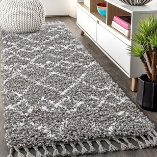 "JONATHAN  Y Mercer Shag Plush Tassel Moroccan Tribal Geometric Trellis Grey/Cream 2 ft. x 8 ft. Runner Rug - 2'3"" x 8' Runner"