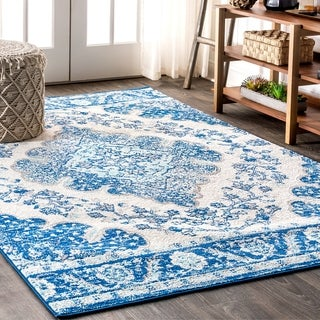 "JONATHAN  Y Bohemian FLAIR Boho Vintage Medallion Cream/Blue 8 ft. x 10 ft.  Area Rug - 7'9"" x 10'"