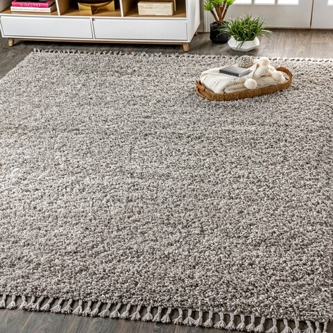 "JONATHAN Y Mercer Shag Plush Tassel Grey 5 ft. x 8 ft. Area Rug - 5'3"" x 7'6"""