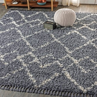"JONATHAN  Y Mercer Shag Plush Tassel Moroccan Tribal Geometric Trellis Denim Blue/Cream 8 ft. x 10 ft.  Area Rug - 7'9"" x 10'"