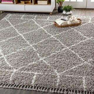 "JONATHAN  Y Mercer Shag Plush Tassel Moroccan Geometric Trellis Grey/Cream 5 ft. x 8 ft. Area Rug - 5'3"" x 7'6"""