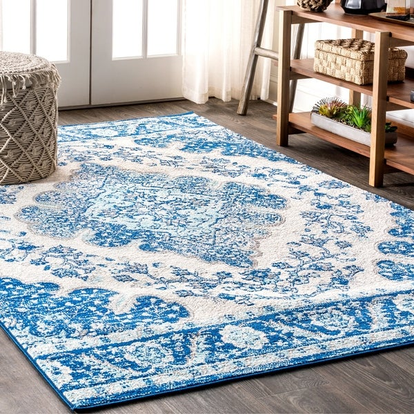 "JONATHAN Y Bohemian FLAIR Boho Vintage Medallion Cream/Blue 5 ft. x 8 ft. Area Rug - 5'3"" x 7'7"""